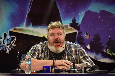 CLUJ-NAPOCA, ROMANIA - AUGUST 6, 2016: Actor and Dj Kristian Nairn (Hodor, Game of Thrones) answering questions during a press conference at Untold Festival Editorial
