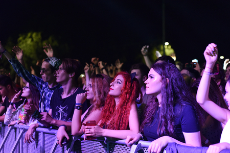 beggars: CLUJ-NAPOCA, ROMANIA - AUGUST 7, 2016: Crowd of people partying in the golden circle at a Foreign Beggars live concert at Untold festival