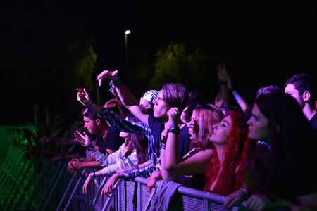 beggar's: CLUJ-NAPOCA, ROMANIA - AUGUST 7, 2016: Crowd of people partying in the golden circle at a Foreign Beggars live concert at Untold festival