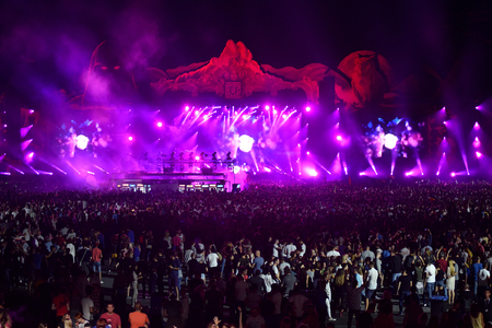 people partying: CLUJ-NAPOCA, ROMANIA - AUGUST 5, 2016: Crowd of people partying in the front of the Main Stage during a concert at the Untold Festival. Ten thousands of people enjoying every day the festival Editorial