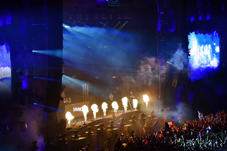 napoca: CLUJ NAPOCA, ROMANIA - AUGUST 5, 2016: Flame projectors firing in the front of crowd at a Dannic concert performing live at Untold festival