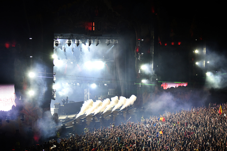CLUJ-NAPOCA, ROMANIA - AUGUST 6, 2016: Crowd having fun during a Twoloud live concert at Untold Festival