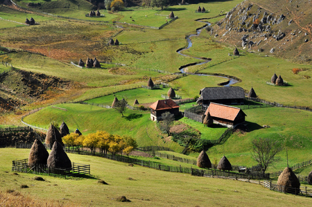 traditional house: Autumn rural landscape with a small village