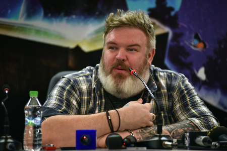 correspondent: CLUJ-NAPOCA, ROMANIA - AUGUST 6, 2016: Actor and Dj Kristian Nairn (Hodor, Game of Thrones) answering questions during a press conference at Untold Festival Editorial