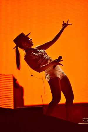CLUJ-NAPOCA, ROMANIA - JULY 7, 2016: Singer Cleo Panther from Parov Stelar band singing live on the stage at the Untold Festival