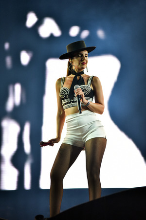 dub: CLUJ-NAPOCA, ROMANIA - JULY 7, 2016: Singer Cleo Panther from Parov Stelar band singing live on the stage at the Untold Festival