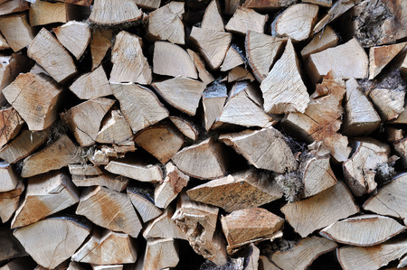 neatly stacked: Neatly stacked firewood ready for winter