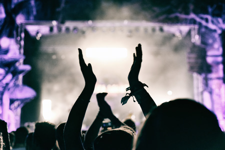 Concert crowd applauding at a music festival