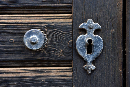 antique keyhole: Vintage door mounting and keyhole of a wooden antique door