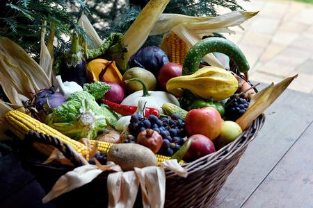 Basket of organic food vegetables, autumn goods after harvest