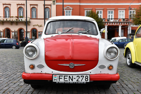 CLUJ-NAPOCA, ROMANIA - OCTOBER 15, 2016: Eastern European Trabant and other vintage cars exhibited during the Retro Mobile Autumn Parade in the city of Cluj Napoca. Event organized by Retro Mobil Club Romania