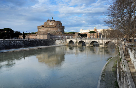 castel: ROME, ITALY - MARCH 13, 2016: San Angelo castle is one the major tourist sights in Rome, and it was built as the mausoleum for Emperor Hadrian in the Roman period