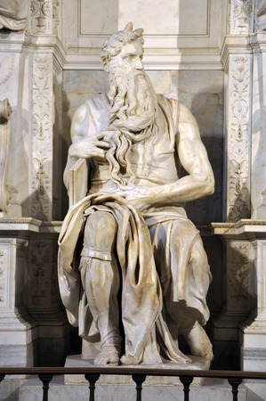 vincoli: ROME, ITALY - MARCH 16, 2016: The statue of Moses sculpted by Michelangelo is visited daily by crowd of tourists in the San Pietro in Vincoli church