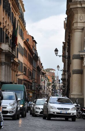ROME, ITALY - MACRH 17, 2016: The streets near the Trinita dei Monti church and Villa Medici Borghese are often congested due the high level of tourists and narrow streets Editorial