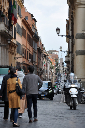 medici: ROME, ITALY - MACRH 17, 2016: The streets near the Trinita dei Monti church and Villa Medici Borghese are often congested due the high level of tourists and narrow streets Editorial