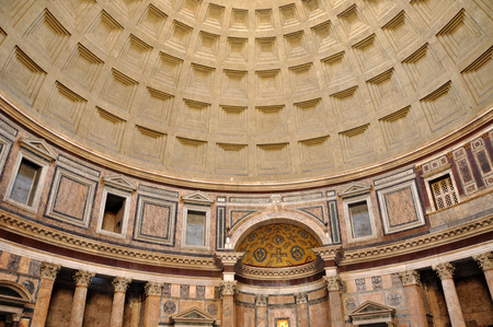 ROME, ITALY - MARCH 13, 2016: The Pantheon is a former Roman temple, now a church on the site of an earlier temple commissioned by Marcus Agrippa Editorial