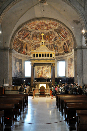 vincoli: ROME, ITALY - MARCH 16, 2016: The church of San Pietro in Vincoli contains the chains of Saint Peter and the sculpture of Moses by Michelangelo