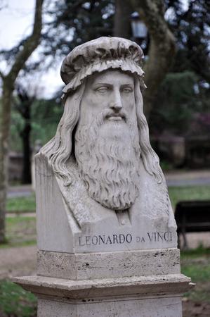 Statue of Leonardo da Vinci in Villa Borghese gardens. Rome, Italy