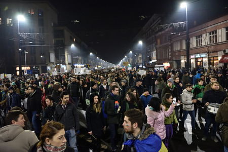 amnesty: CLUJ NAPOCA, ROMANIA - FEBRUARY 4, 2017: More than 50,000 people protesting against the Romanian governments plans to pardon or reduce sentences of corrupt politicians