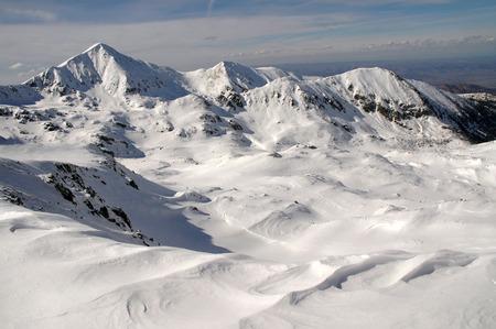 Winter mountain landscape. Retezat mountains, Southern Carpathians, Romania