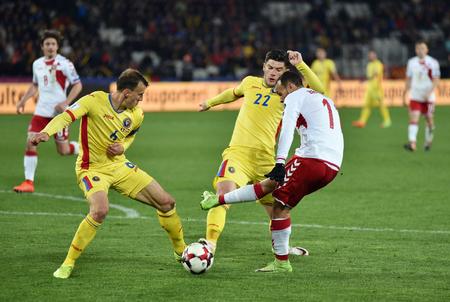 CLUJ NAPOCA, ROUMANIE - 26 MARS 2017: L'équipe nationale de football de Roumanie joue un match contre le Danemark lors des éliminatoires de la Coupe du Monde de la FIFA. Score final 0: 0