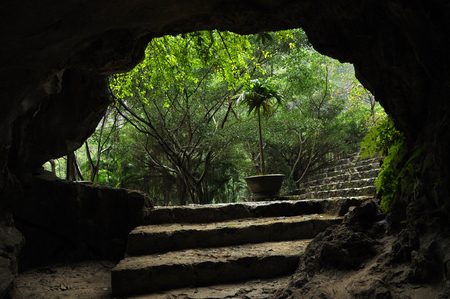 View from a cave. Mua cave. Ninh Binh, Vietnam Stock Photo