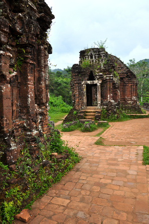 My Son Hindu temple ruins in Vietnam. Cham temple remains in the jungle Stock Photo