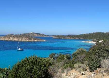 dominican: Beautiful crystal clear sea water and beach in Sardinia island (Sardegna, Italy) Stock Photo
