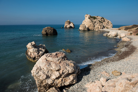 Aphrodites Rock beach. Petra tou Romiou is the birthplace of Goddess Aphrodite. Pahos, Cyprus