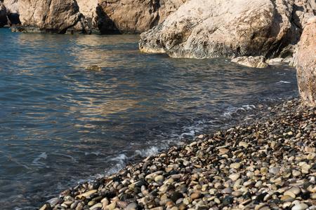water wave: Aphrodites Rock beach. Petra tou Romiou is the birthplace of Goddess Aphrodite. Pahos, Cyprus