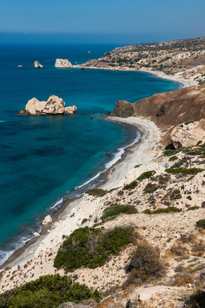 Aphrodites rock. Rocky coastline on the Mediterranean sea in Cyprus. Petra tou Roumiou is the Goddess Aphrodites birthplace  Stock Photo