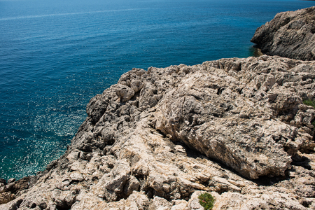 Rocky coastline in Cape Greco, Cyprus island Stock Photo