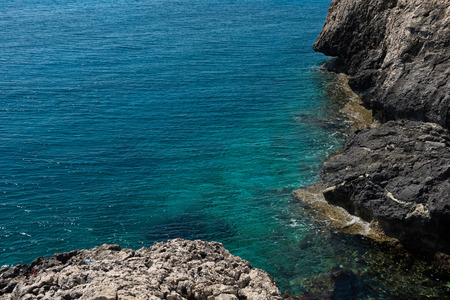 Rocky coastline in Paralimni, Cape Greco, Cyprus island