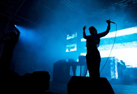 BONTIDA, ROMANIA - JULY 16, 2017: German digital hardcore band, Atari Teenage Riot performing a live concert at Electric Castle festival