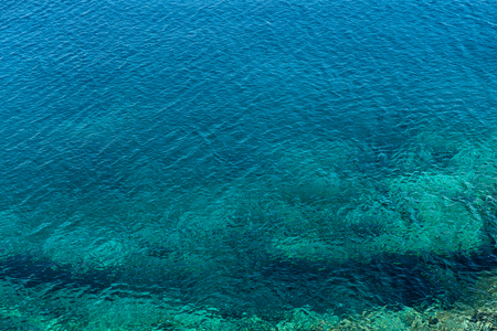 Emerald, blue sea water background. Water ripples. Mediterranean sea