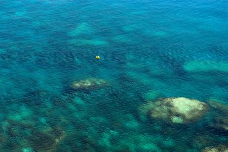 Emerald, blue sea water background. Water ripples. Mediterranean sea