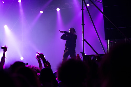 BONTIDA, ROMANIA - JULY 14, 2017: Surreal, post Soviet rap sensation, Tommy Cash performing a live rap show at Electric Castle festival