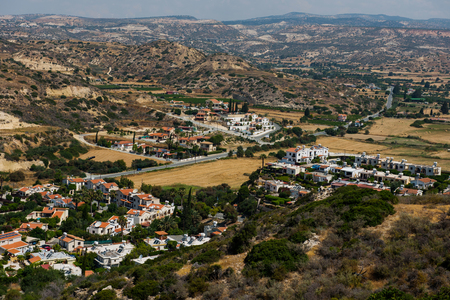 Pissouri village resort in Pissouri bay.  Mediterranean sea coast, Cyprus Editorial
