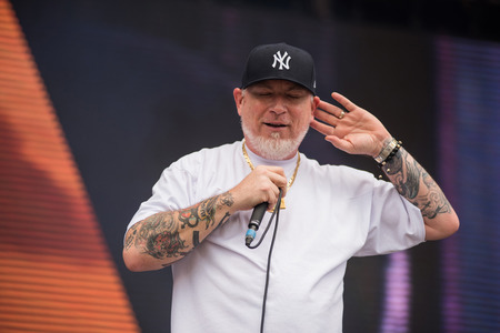 BONTIDA, ROMANIA - JULY 16, 2017: American hip hop band from Los Angeles, California, House of Pain performing a live show at Electric Castle festival