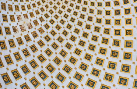 Interior detail of the dome of the Rotunda of Mosta (Church of the Assumption of Our Lady), Malta. The dome is the third largest unsupported dome in the World