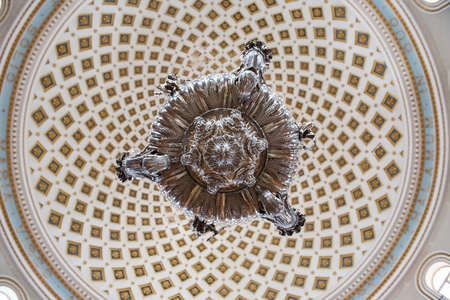 MOSTA, MALTA - AUGUST 21, 2017: The dome of the Rotunda of Mosta (Church of the Assumption of Our Lady) is the third largest unsupported dome in the World and was built between 1833 and 1860 Editorial