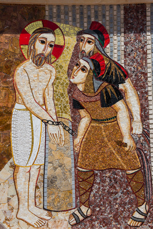 intended: GHARB, GOZO, MALTA - AUGUST 22, 2017: The mosaic of Ta Pinu is representing the 20 stations of the Cross and is intended to give the sanctuary a theological, spiritual and religious meaning Editorial