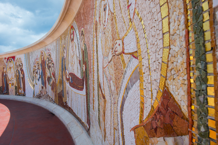GHARB, GOZO, MALTA - AUGUST 22, 2017: The mosaic of Ta Pinu is representing the 20 stations of the Cross and is intended to give the sanctuary a theological, spiritual and religious meaning Redakční