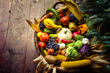 Healthy organic bio fruit and vegetable in a basket. Autumn harvest nature concept Stock Photo