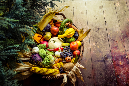 Healthy organic bio fruit and vegetable in a basket. Autumn harvest concept Stock Photo