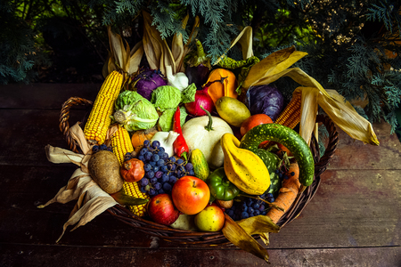 Autumn nature concept. Fruits and vegetables in a basket. Thanksgiving dinner