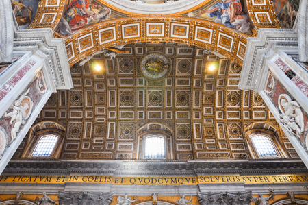 when: VATICAN - MARCH 16, 2016: The dome of the Saint Peter basilica is tallest dome in the world. Michelangelos dome was only completed to the base when he died and the cupola was painted by several artist of the that time