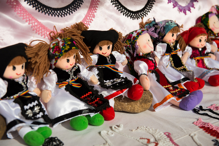 Romanian handmade dolls in traditional costumes