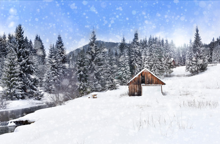 Winter wonderland with fir trees and alpine wooden barn. Christmas greetings concept with snowfall  Stock Photo