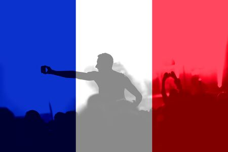 Crowd of football, soccer fans with raised arms with blending France flag Stock Photo